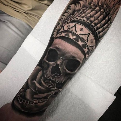 Cool Lower Arm Forearm Skull Tattoo Designs