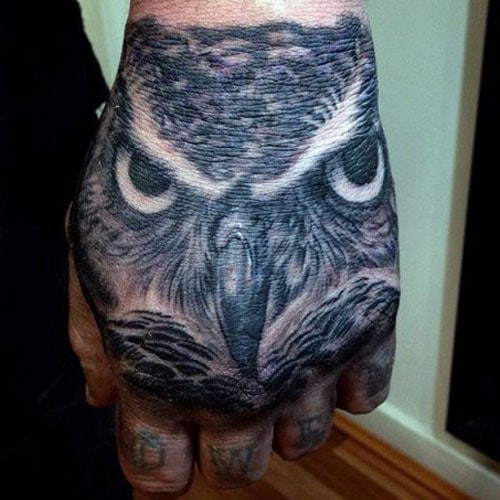 Cool Owl Tattoo on Hand