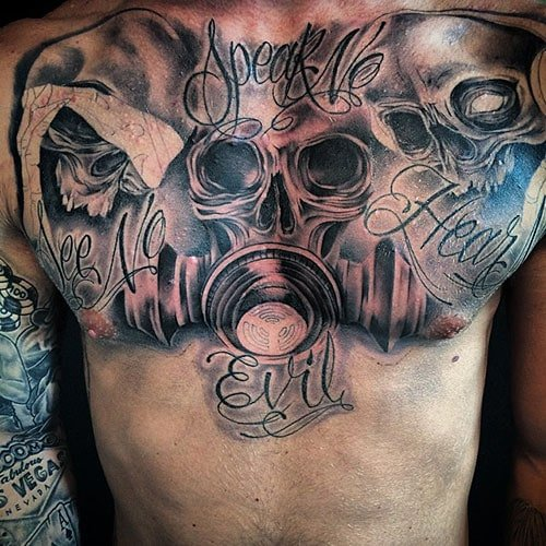 Cool Skull Chest Tattoo Designs