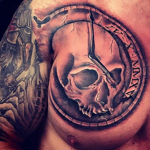 Cool Skull Clock Tattoo Designs