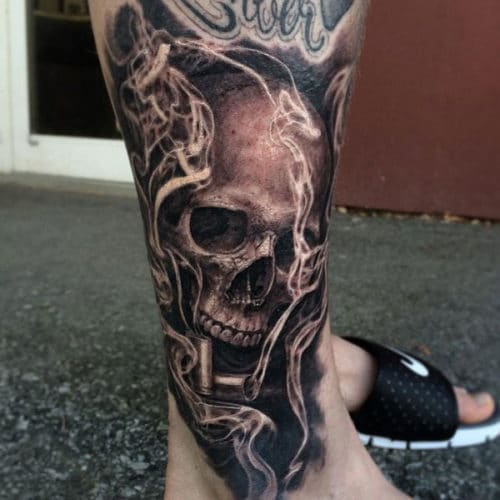 Cool Skull Leg Tattoos For Men