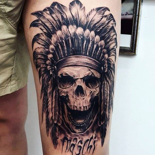Cool Skull Thigh Tattoos
