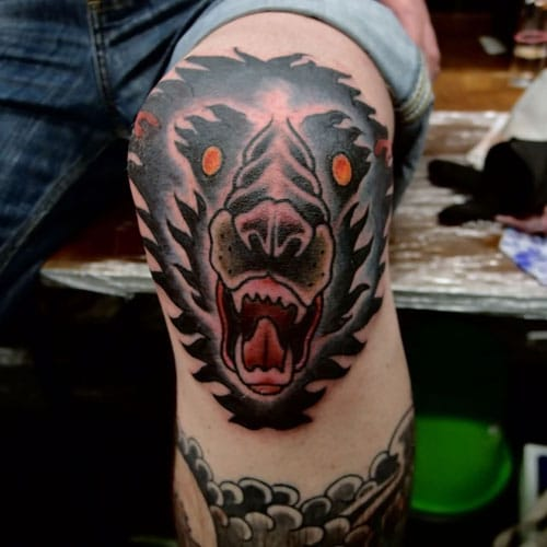 Cool Wolf Leg Tattoo Designs