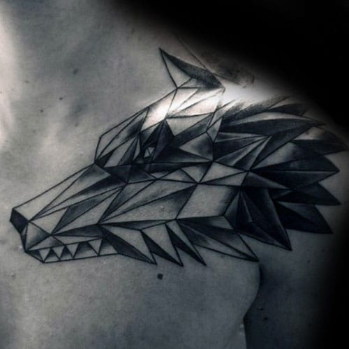 Creative Geometric Wolf Tattoo Designs