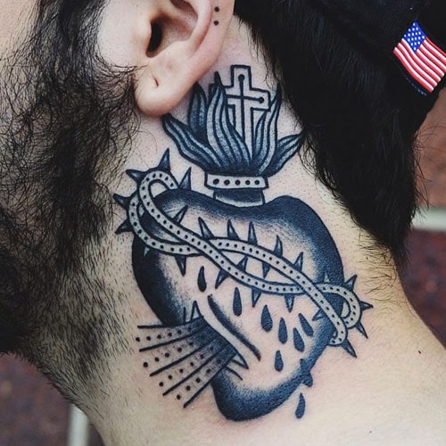 Cross Heart Neck Tattoos