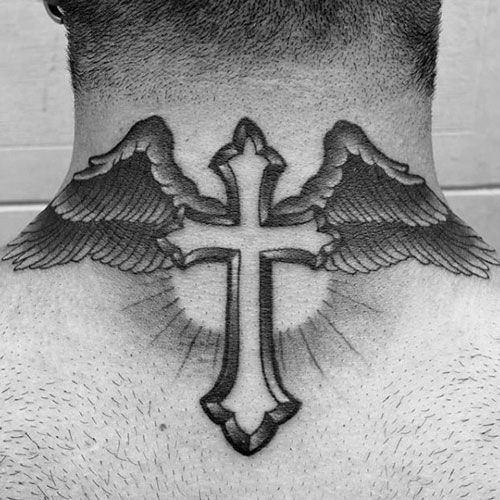 Cross on Back of Neck Tattoo