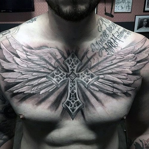 Cross with Wings Chest Tattoo