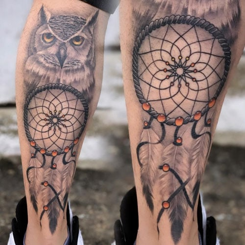Dreamcatcher and Owl Tattoos