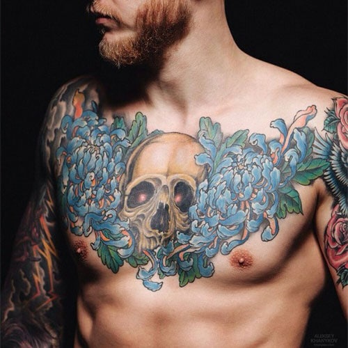 Flower and Skull Chest Tattoo