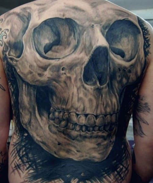Full Back Skull Tattoo Designs