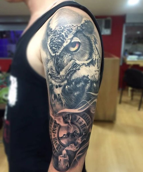 Full Sleeve Owl Tattoo