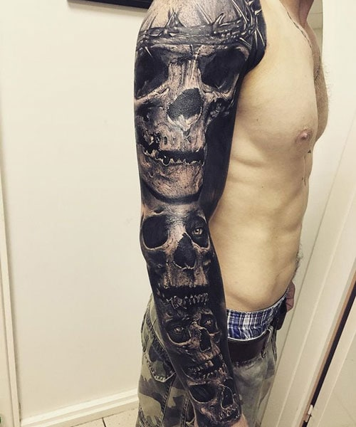 Full Sleeve Skull Tattoo