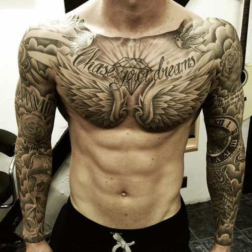 Full Sleeve and Chest Tattoo Designs