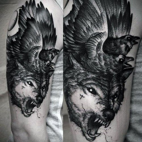 Growling Wolf Tattoo Designs