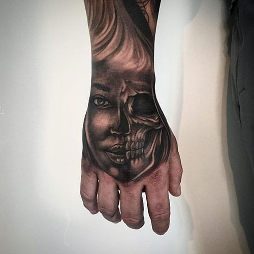 Half Skull Tattoo Designs