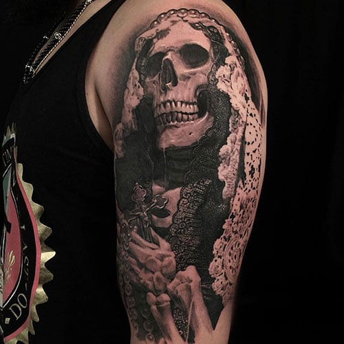Half Sleeve Skull Tattoo Designs