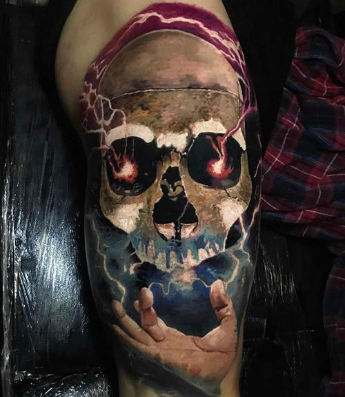 Leg Skull Tattoo Designs