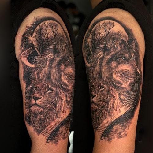 Lion Wolf Tattoo