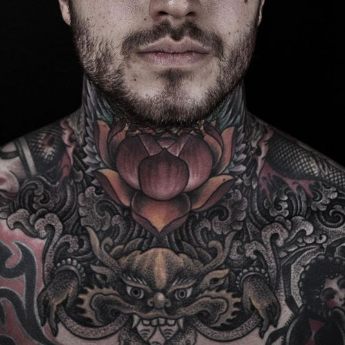 Lotus Flower Dragon Full Neck Tattoos