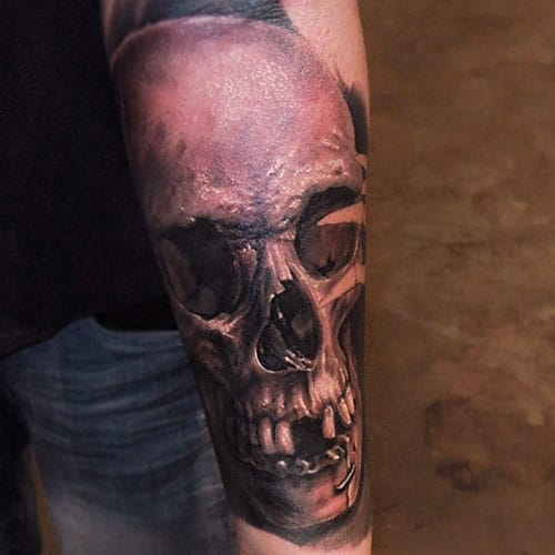 Lower Arm Skull Tattoo