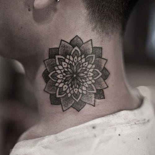 Mandala Flower Neck Tattoos