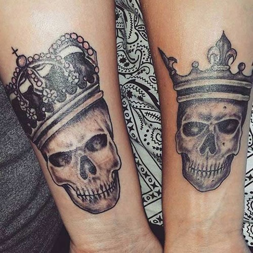 Matching Couple Skull Tattoos