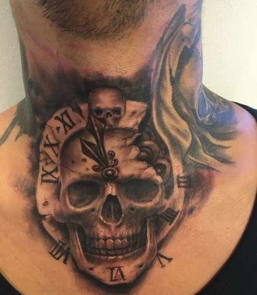 Men's Throat Tattoos