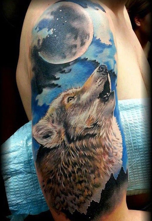 Moon Howling Wolf Tattoo