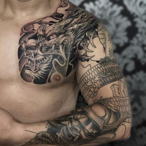 One Side Chest Tattoo