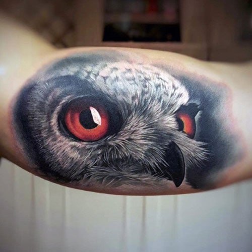Owl Bicep Tattoo
