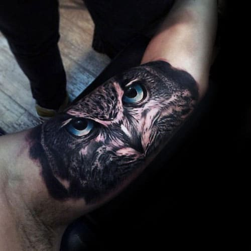Owl Eyes Tattoo Designs on Arm