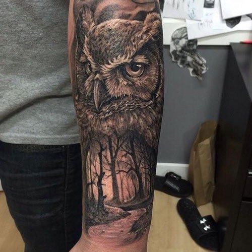 Owl Half Sleeve Tattoo