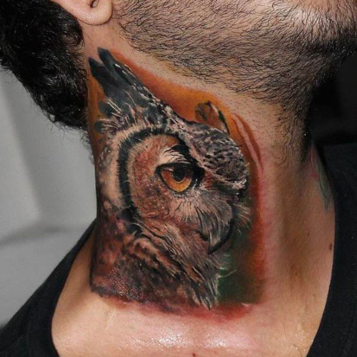 Owl Neck Tattoo Designs