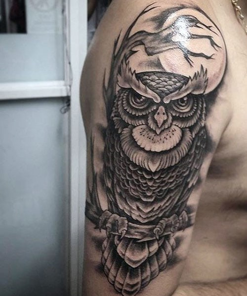 Owl Upper Arm Tattoo