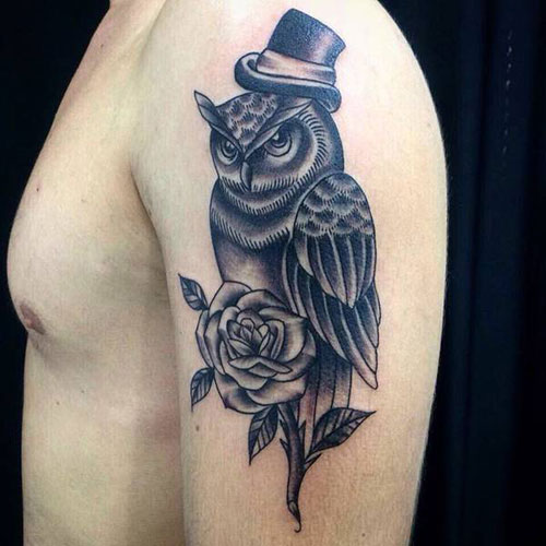 Owl with Rose Flower Tattoo