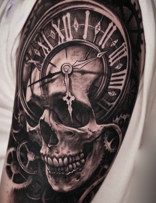 Skull Clock Tattoo