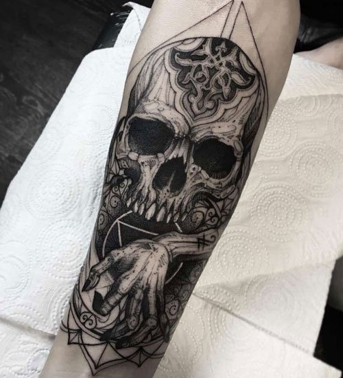 Skull Forearm Tattoo Designs