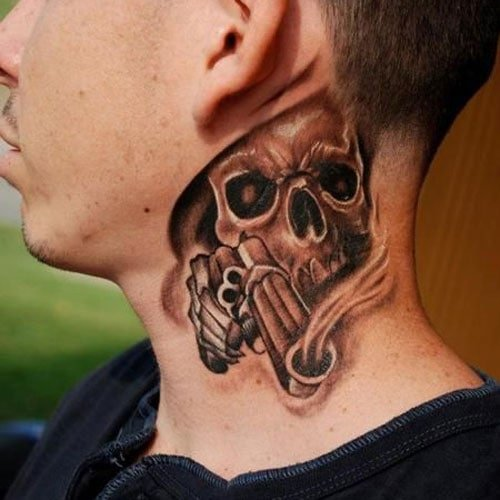 Skull Neck Tattoo Designs