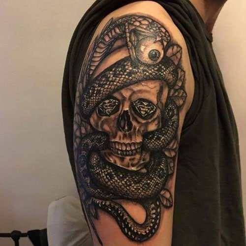 Skull Shoulder Tattoo Designs For Men