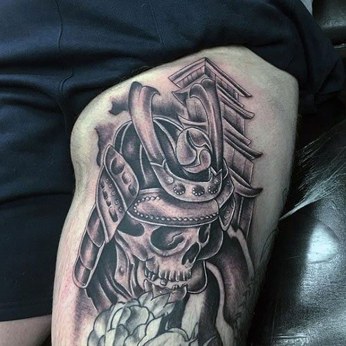 Skull Upper Thigh Tattoo
