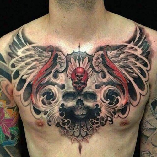 Skull with Wings Chest Tattoo Designs