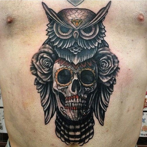 Sugar Skull with Owl Tattoo