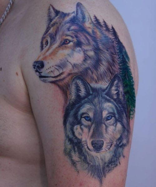 Two Wolves Tattoo Designs