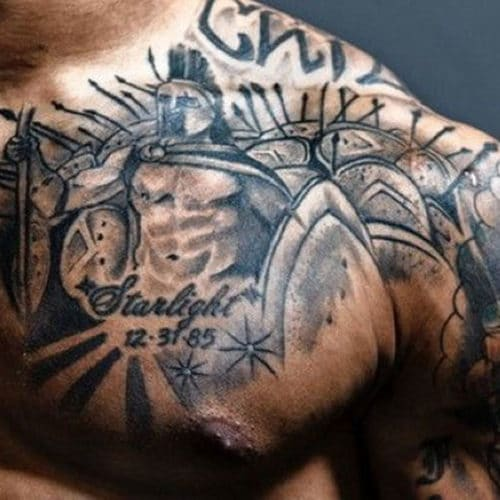 Warrior Chest Tattoo