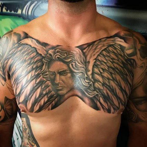 Warrior Guardian Angel Chest Tattoo