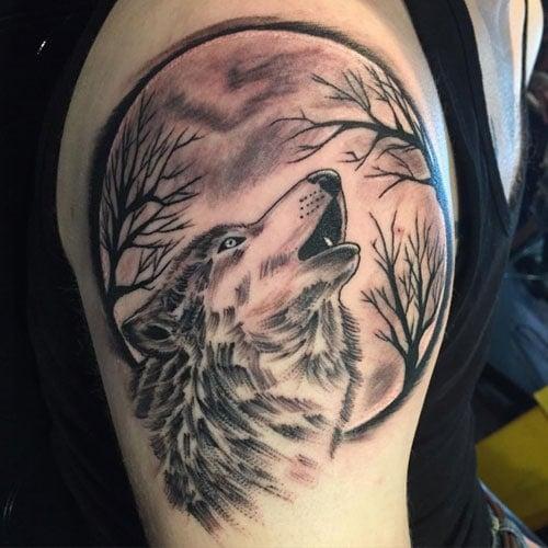 Wolf Tattoos on Upper Arm