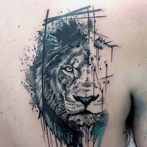 Artistic Lion Tattoos on Back
