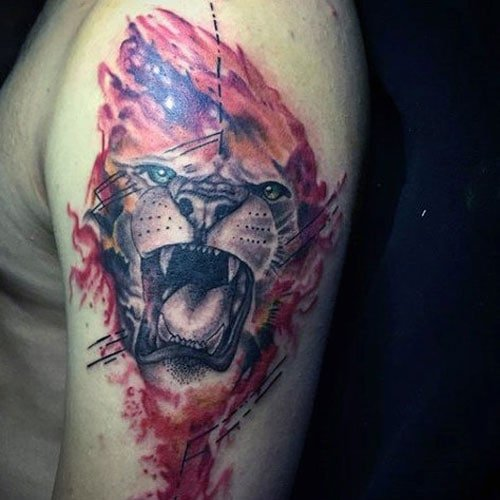Badass 3D Scary Lion Tattoo