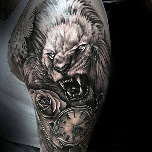 Badass Flower Clock Lion Tattoo