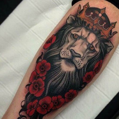 Beautiful Lion and Rose Tattoo